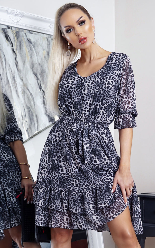 Rory Grey Animal Print Frill Hem Shift Dress - Missfiga.com