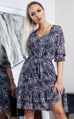 Rory Grey Animal Print Frill Hem Shift Dress