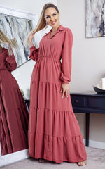 Yolanda Pink Tiered Maxi Shirt Dress