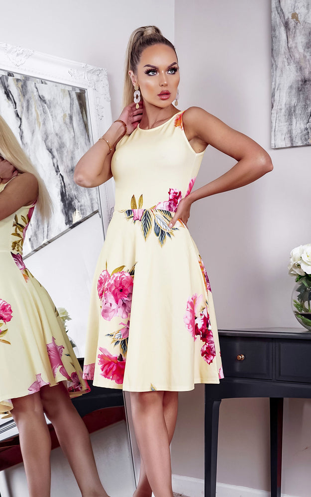 Kiran Yellow Floral Sleeveless Skater Dress - Missfiga.com