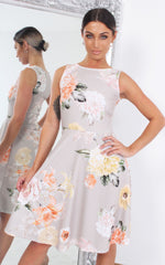 Elisha Grey Floral Sleeveless Skater Dress - Missfiga.com