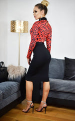Martina Red Leopard Animal Print Contrast Dress