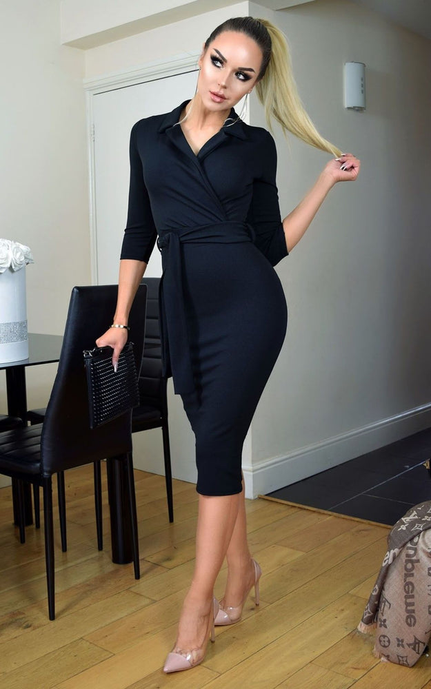 Noreen Black Collard Front Wrap Dress - Missfiga.com