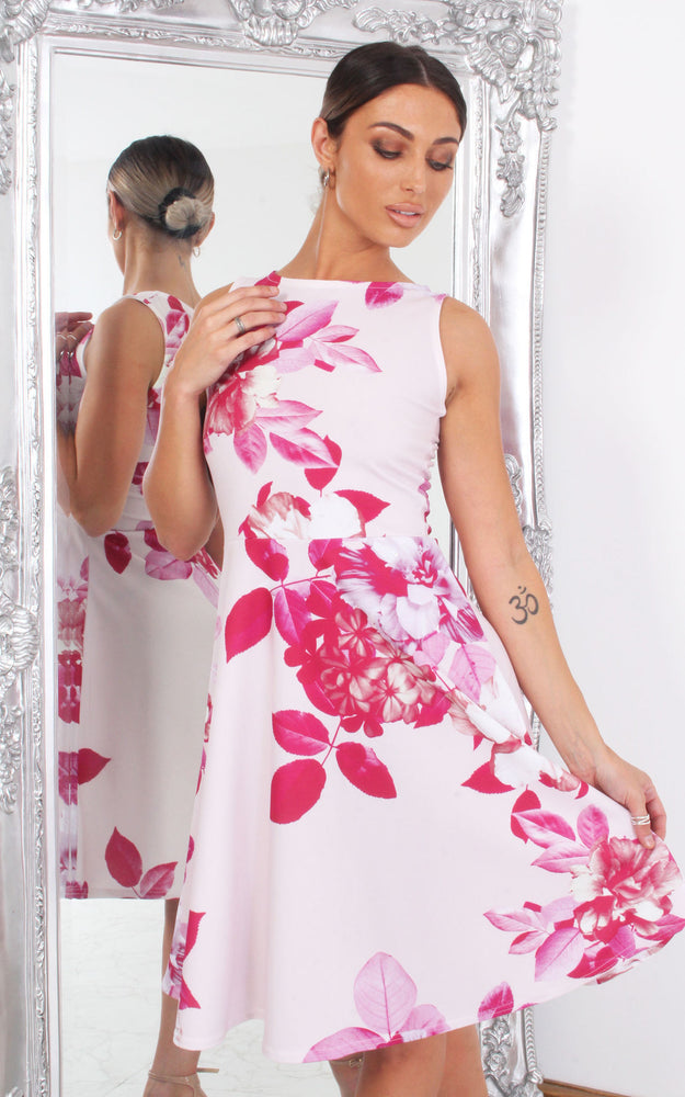 Eliza Pink Floral Sleeveless Skater Dress - Missfiga.com