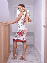 Megan Ivory Border Floral Midi Dress