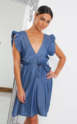 Lauren Denim V Neck Skater Dress - Missfiga.com
