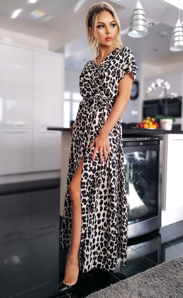 Zarah Leopard Satin Wrap Maxi Dress - Missfiga.com