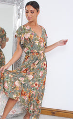 Beverly Green  Floral Wrap Dipped Hem Ruffle Skater Dress - Missfiga.com