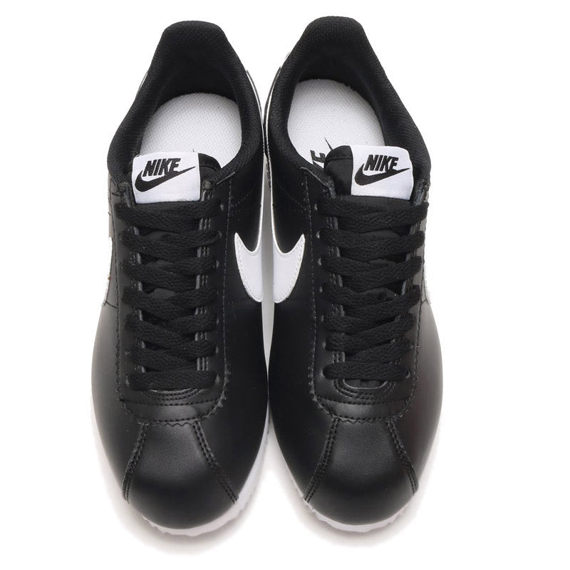 check out a3d04 7201d Women's Nike Classic Leather Cortez (Black & White Swoosh)