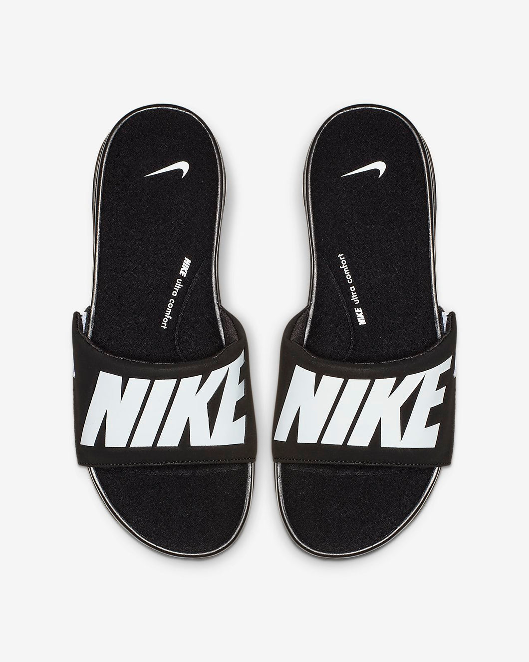 Nike Ultra Comfort Slides (Black White)(FITS SMALL)