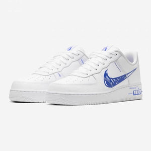 "Men's Nike Air Force 1 LV8 Utility ""Sketch"" (White/Racer Blue)(CW7581-100)"