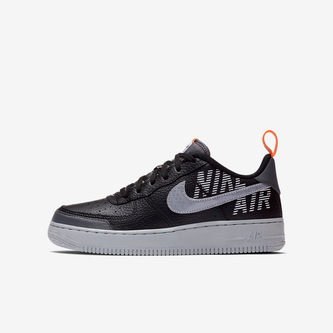 GS Nike Air Force 1 LV8 Reflective ( Black/Dark Grey/Total Orange/Wolf Grey)(BQ5484-001)