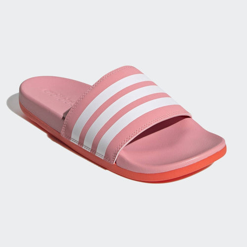 Adidas Adilette Cloudfoam Comfort Stripe Slides (Super Pop/Solar Red)(FY7848)