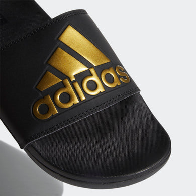 Adidas Adilette Cloudfoam Comfort Slides 3 Stripe Logo (Core Black/Metallic Gold)(EG1850)