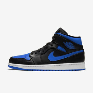 "Men's Air Jordan 1 Mid ""Royal"" 2021 (Black/Hyper Royal)(554724-077)"