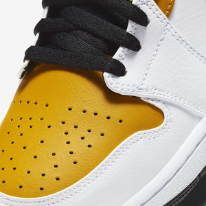 Men's Air Jordan 1 Mid (White/Black/University Gold)(554724-077)