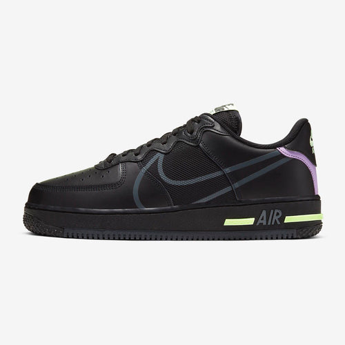 Men's Nike Air Force 1 React (Black/Violet Star/Barely Volt/Anthracite)(CD4366-001)