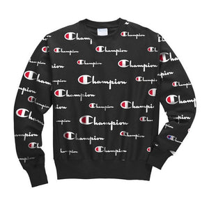 Champion Reverse Weave All Over Multi Scale Script Crewneck (Black)