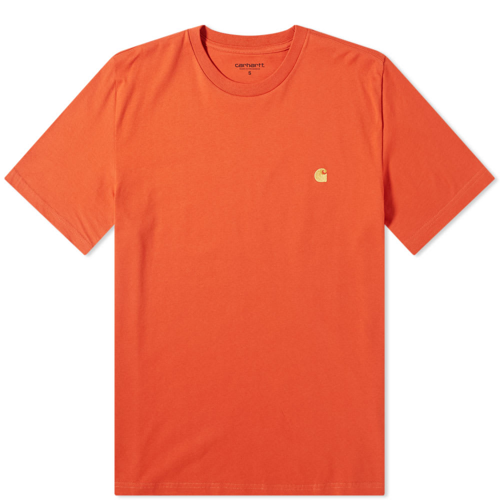 Carhartt WIP Chase Embroidered Tee (Brick Orange & Gold)(Regular Size)