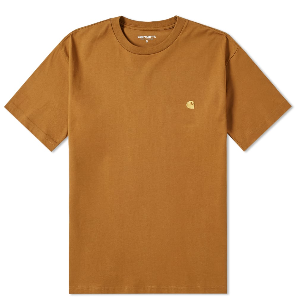 Carhartt WIP Chase Embroidered Tee (Hamilton Brown & Gold)(Regular Size)
