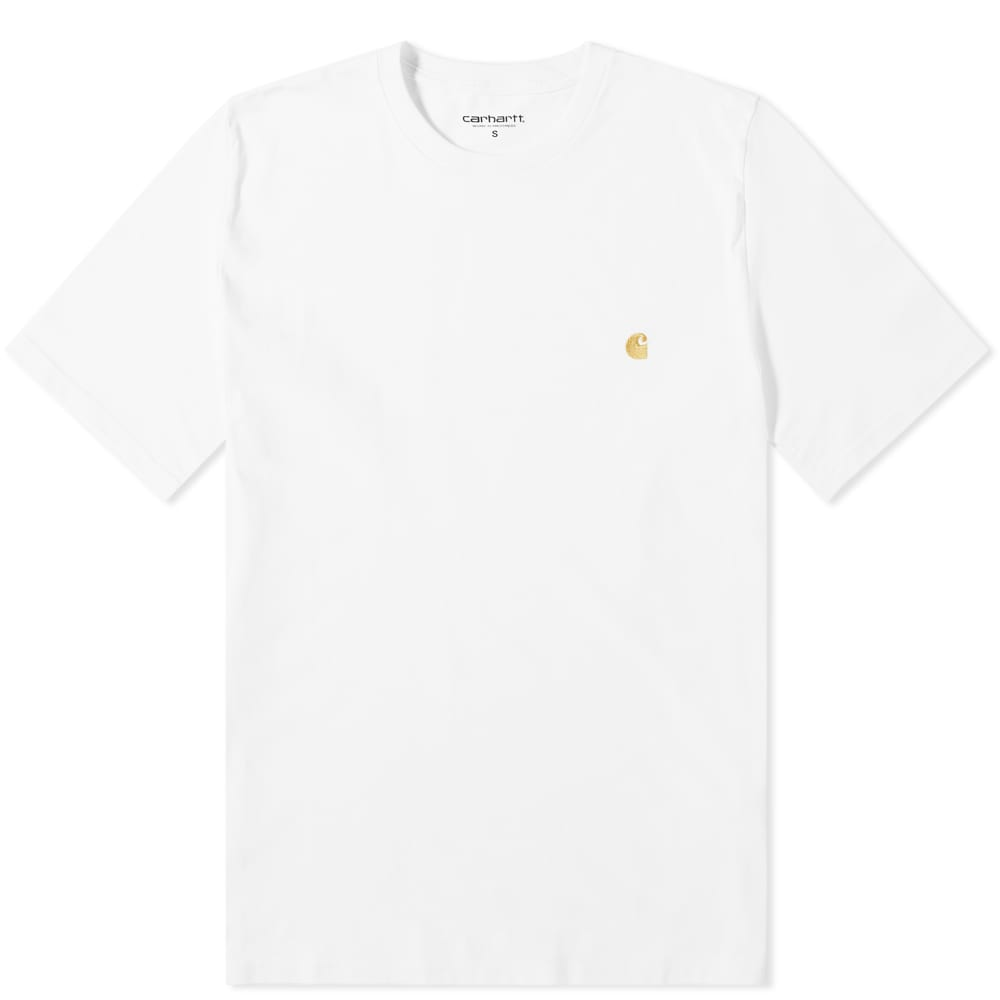 Carhartt WIP Chase Embroidered Tee (White & Gold)(Regular Size)