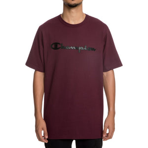 Champion Faux Leather Logo Heritage Tee (Maroon)