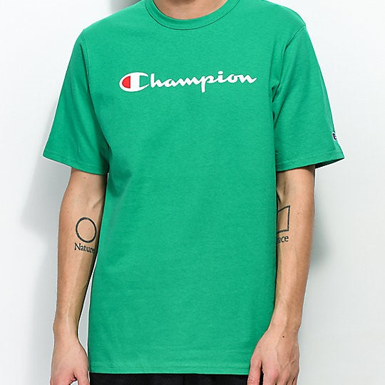 Pre-order: Champion Heritage Script Tee (Green) (Jan 26 to Feb 2 arrival)(NO CASH ON DELIVERY)
