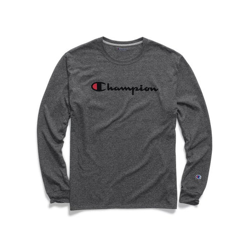 Champion Patriotic Script Print Long Sleeves (Granite Heather)