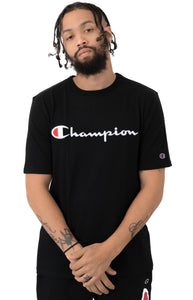 Champion Embroidered Big Script Heritage Tee (Black)(onhand)