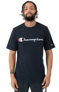 Champion Embroidered Big Script Heritage Tee (Navy)(onhand)