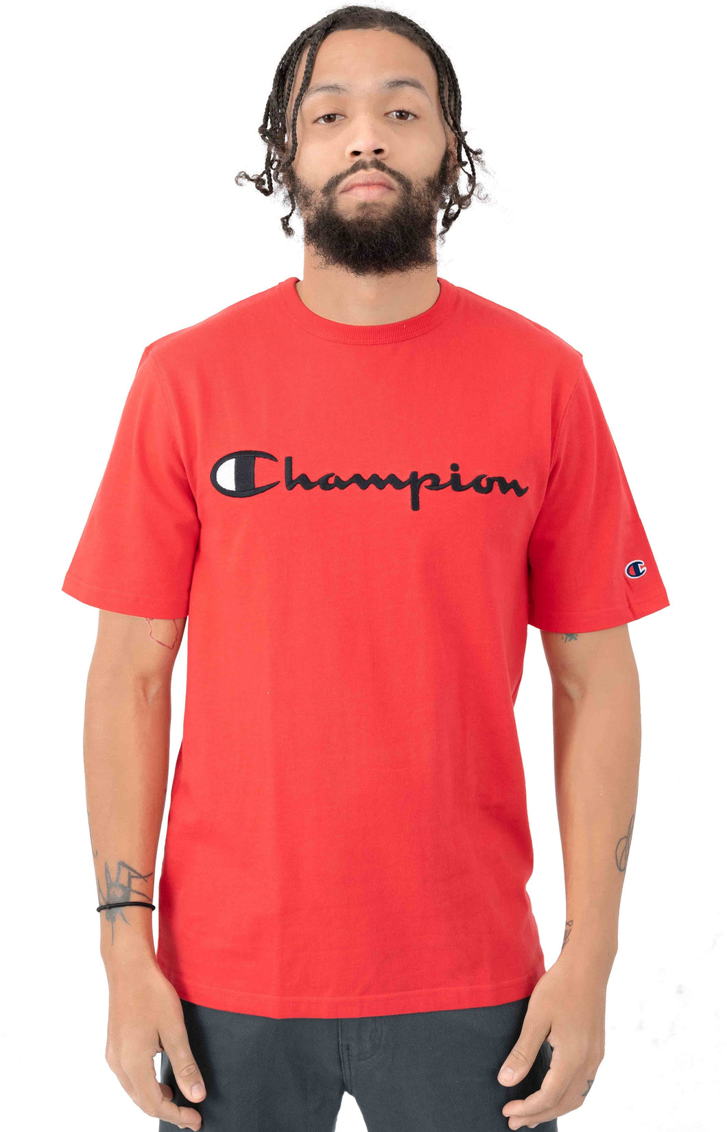 Champion Embroidered Big Script Heritage Tee (Team Red Scarlet)(onhand)