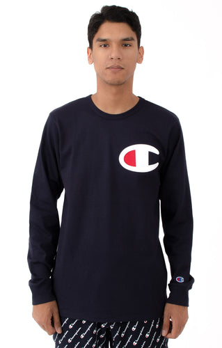 Champion Large Logo Heritage Long Sleeves (Navy)