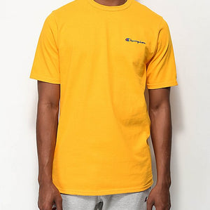 Champion Heritage Embroidered Small Script Logo Tee (C. Gold/Royal Blue Stitch)