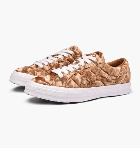 (Pre-owned) Converse x Golf Le Fleur Ox Quilted Velvet by Tyler the Creator (Brown Sugar/White)(165599C)