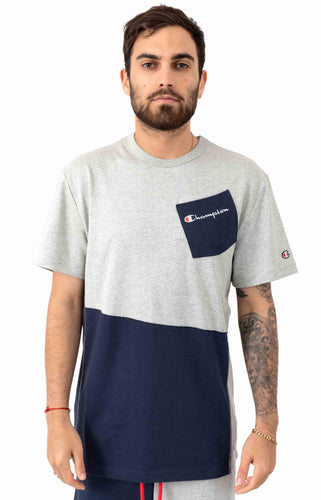 Champion Heritage Shift Pocket Tee (Oxford Grey Imperial Indigo)