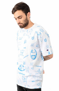Champion Heritage All Over Scribble Doodle Tee (White Blue)