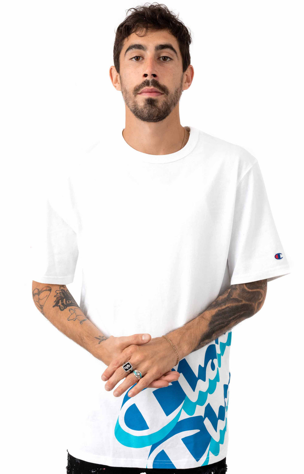 Champion Heritage Panel Script Tee (White)