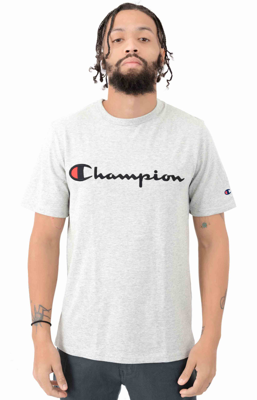 Champion Heritage Embroidered Script Tee (Oxford Grey)