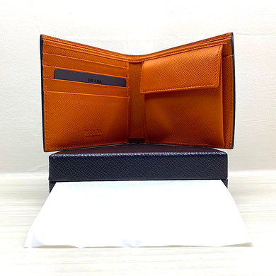 PRADA Saffiano Bi-Fold Leather Wallet w/ Coin Pocket (Bright Blue/Papaya)