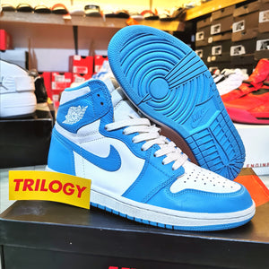 "(Pre-owned) Men's Air Jordan 1 Retro High OG ""UNC"" (White/Dark Powder Blue)(555088-117)"