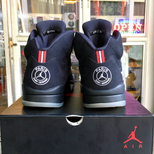 "(Pre-owned) Men's Air Jordan 5 Retro ""Paris Saint-Germain"" (Black/Challenge Red/White)(AV9175-001)"