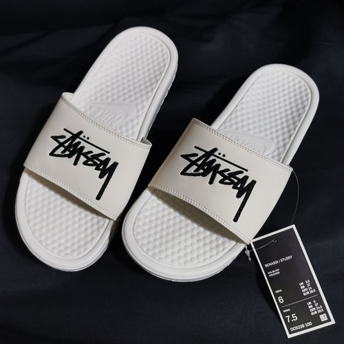 Nike x Stussy 2.0 Embroidered Benassi Slides (Sail/Black)(DC5239-100)