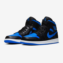 "Men's Air Jordan 1 Mid ""Royals"" (Black/White/Hyper Royal)(554724-068)"