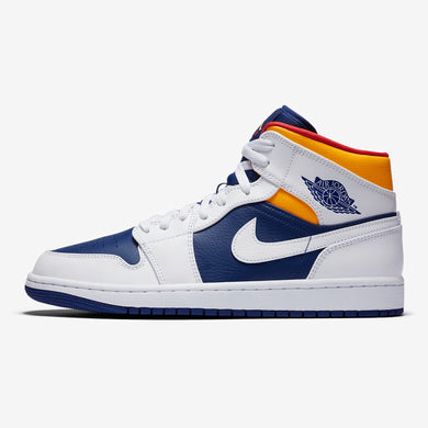 Men's Air Jordan 1 Mid (White/Laser Orange/Deep Royal/Track Red)(554724-131)