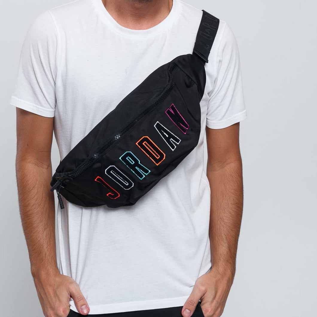 Air Jordan Chenille Multicolor Crossbody Bag Fanny Pack (Black)