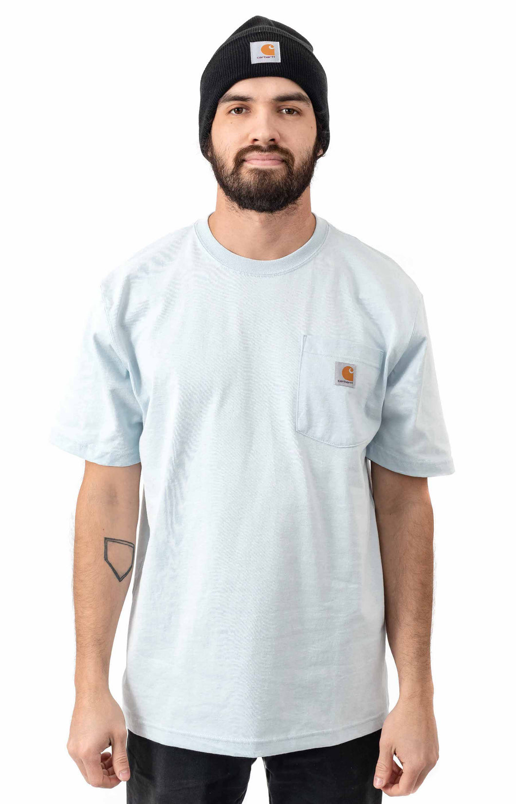 Carhartt K87 Workwear Pocket T-Shirt (Soft Blue)(Oversized fit)
