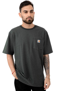 Carhartt K87 Workwear Pocket T-Shirt (Peat Stripe)(Oversized fit)