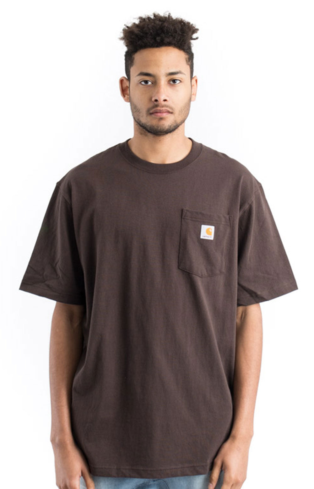 Carhartt K87 Workwear Pocket T-Shirt (Dark Brown)(Oversized fit)