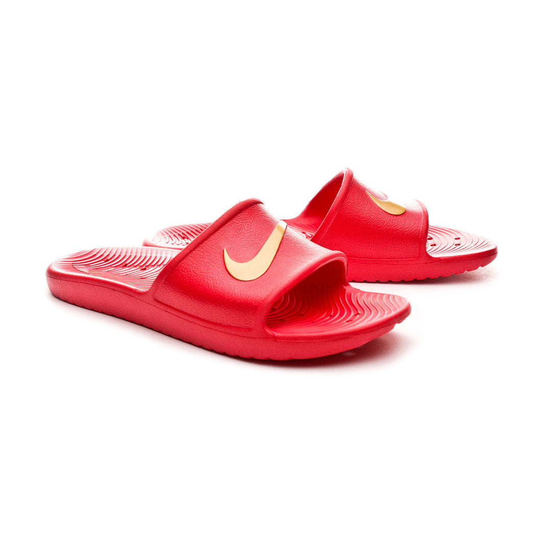 Nike Kawa Shower Slides (Red Metallic Gold)