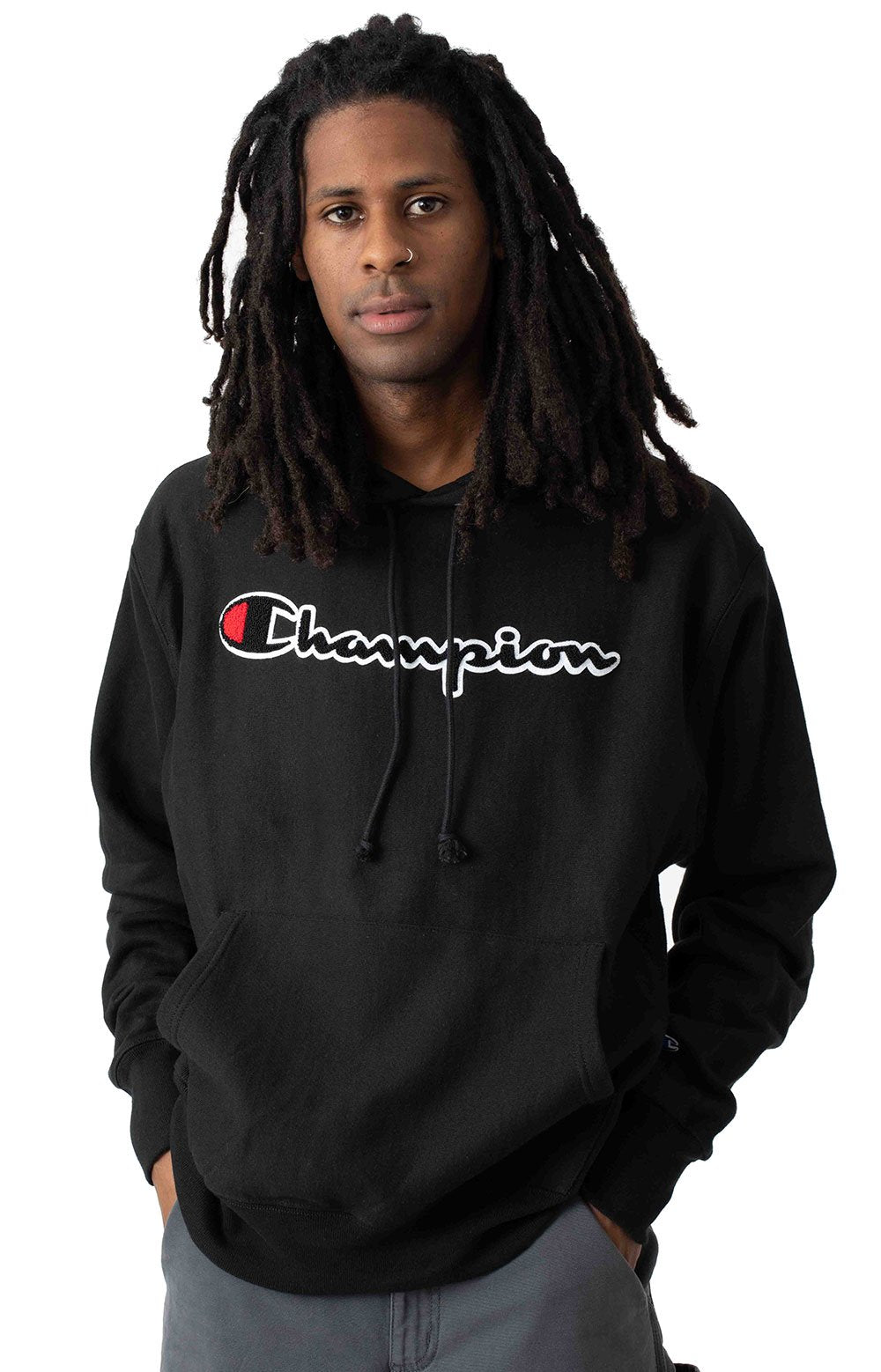 Champion Reverse Weave Chenille Script Pullover Hoodie (Black)